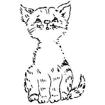 Kitten Wood Mounted Stamp
