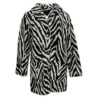 Susan Graver Women's Coat Reversible Sherpa Polar Fleece Black A383194