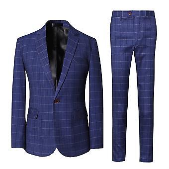 Allthemen Men's Regular-fit Check Business Gentleman Blazer and Matching Trousers