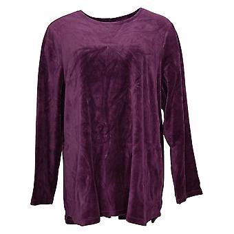 Denim & Co. Women's Top Active Regular Velour Tunic Purple A260064