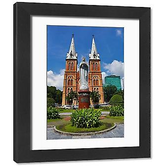 Statue of the Virgin Mary at the Notre-Dame Cathedral Basilica of Saigon, Ho. Framed Photo. Statue.
