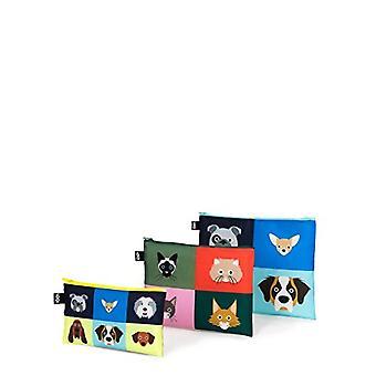 LOQI Artist Stephen Cheetham Dogs & Cats Zip Pockets Identit Card Port , 32 cm, Multicolored (Multicolour), 3 Pieces