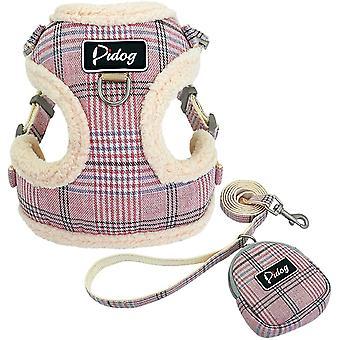 weiches und bequemes Hundegeschirr mit Leine, mit niedlichen Taschen, klassisches Karomuster,