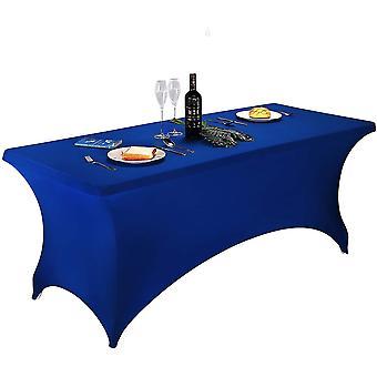 宴会cai1437のためのロイヤルブルー10フィート2 pcsスパンデックスフィットストレッチテーブルクロス長方形のトレーニングストレッチテーブルカバー
