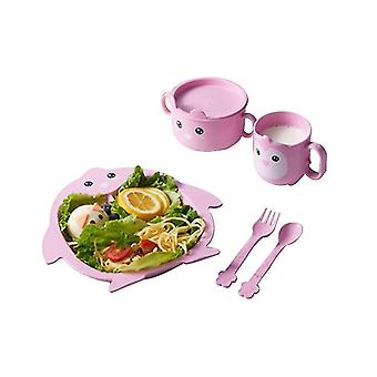 Pink penguin children's tableware five-piece set of creative cartoon wheat straw environmental protection x3540