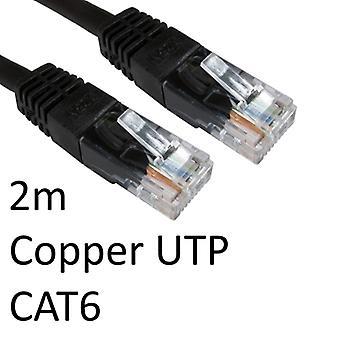 RJ45 (M) a RJ45 (M) CAT6 2m Negro OEM Molded Boot Cobre Cable de red UTP