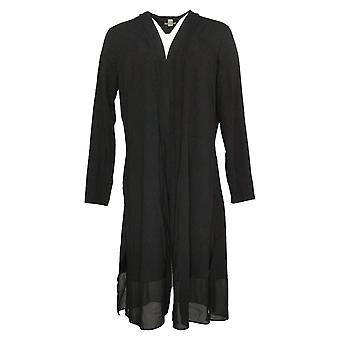 LOGO by Lori Goldstein Women's Sweater Duster w/ Chiffon Hem Black A382201