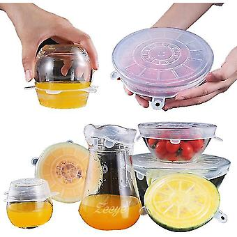 Silicone Stretch Lids 6 Pack Reusable Durable Food Storage Covers(Transparent)