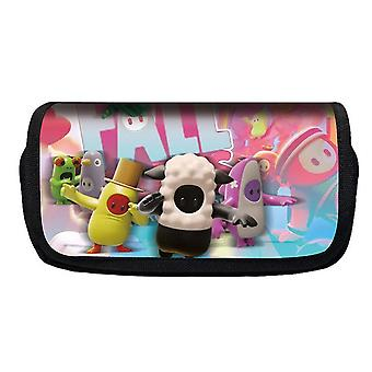 Jelly Bean Fall Guys Double Flap Pencil Case Polyester Children's Pencil Case(Color-6)
