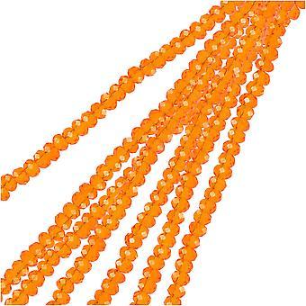 Crystal Beads, Faceted Rondelle 1.5x2.5mm, 2 Strands, Transparent Orange