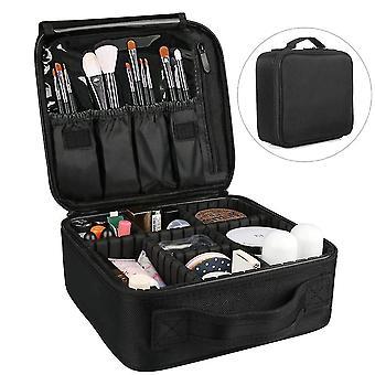أسود قابل للتعديل التقسيم متعدد الطبقات زيبر مربع السفر حقيبة التخزين (26.5cm * 22cm * 12cm)