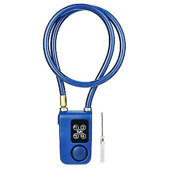 Умный сигнал тревоги Блокировка Противоугонный цепной замок для велосипедных ворот Управление приложением Синий электрический