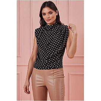 Goddiva High Collar Sleeveless Printed Top - Black