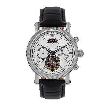 Heritor Automatische Barnsley Semi-Skeleton Leather-Band Horloge - Zilver/Wit
