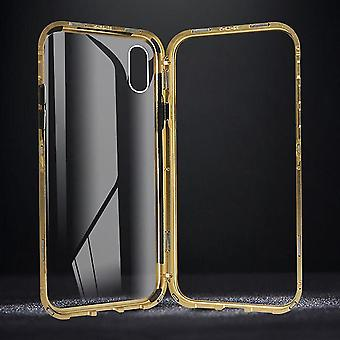 Power adapter charger accessories plating magnetic adsorption metal tempered glass protective case for iphone x/xs for iphone back