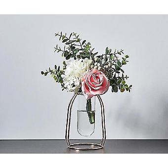 Nordic style gold plated eco friendly metal decor vases with flowers(Rose Gold 15.5cm3)