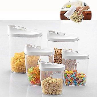 Itian 5 Stück verschiedene Größe Verriegelung Klare Acryl Kunststoff Lebensmittel Aufbewahrung Gläser Kanister Set Ideal für