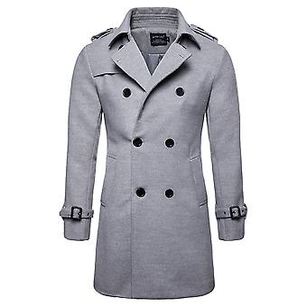 Mile Men's Trench Coat Stand Collar Casual Coat Winter Medium Long Jacket Single Breasted Overcoat