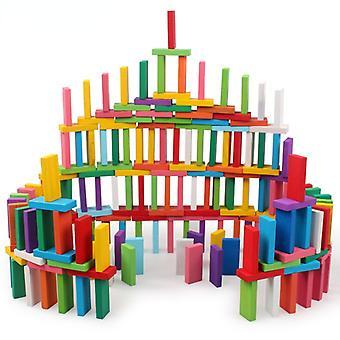 Jeux Domino couleur en bois pour enfants Blocs de jeu éducatif 100