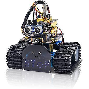 Mini Tank Robot V2 Smart Car Kit per Arduino, Ir Infrarossi e App Telecomando (ios e Android), Luce e ultrasuoni Follow, 8x16 Led Panel, Ultra