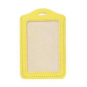 10 Colors Id Window Business Work Card Holder Leather Case Badge Vertical Type