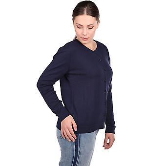 marineblå knappet grunnleggende kvinners strikkevarer cardigan