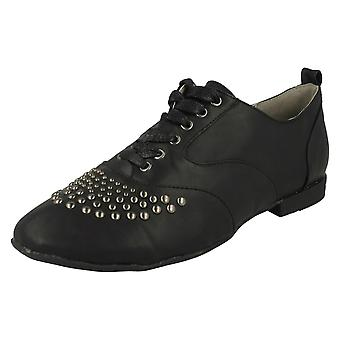 Ladies Anne Michelle Lace Up Flat Casual Shoe With Metal Stud Trim l4940