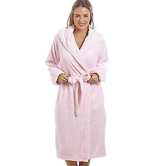 Camille Super Soft Fleece Pink Stripe Dressing Gown