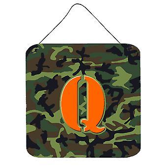 KIRJAIN Q alkuperäistä monogrammi - Camo vihreä seinä tai ovi roikkuu tulosteita