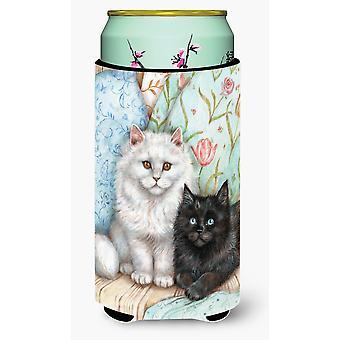 A Black Cat and A White Cat Tall Boy Beverage Insulator Hugger