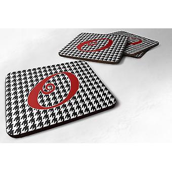 Set van 4 Monogram - eerste Houndstooth zwart Foam Coasters Letter O