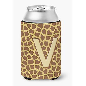 Litery V Monogram początkowego - żyrafa puszka lub butelka napoju izolator Hugger