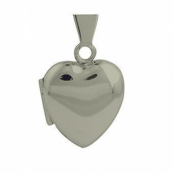 Sølv 17x16mm hjerteformet plain medaljon