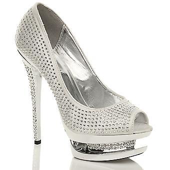 Ajvani womens high heel platform diamante wedding bridal prom peep toe party court shoes