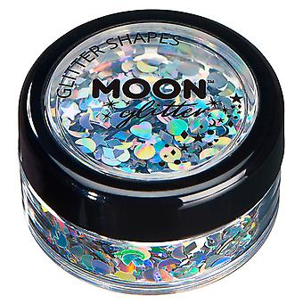 Holographic Glitter Shapes by Moon Glitter – 100% Cosmetic Glitter for Face, Body, Nails, Hair and Lips - 3g - Silver