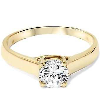 1ct Diamond Solitaire Engagement Ring 14K Yellow Gold