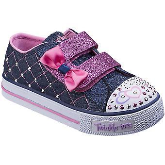 Skechers jenter Shuffles Glitter knuse glimt Glitter Bejewelled sko