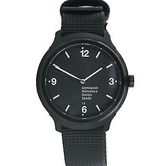 Mondaine mannen kijken Helvetica No1 armband horloge MH1 vet. B1221.nb textiel