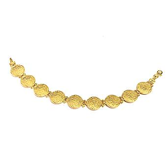 Sobreposição de prata esterlina 18k ouro pulseira Link disco de Phaistos, 7