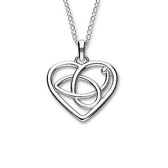 Sterling Silver Traditional Scottish Scottish Celtic Heart Hand Crafted Necklace Pendant