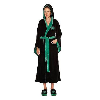 Officiella Harry Potter Slytherin Womens badrock/morgonrock med huva