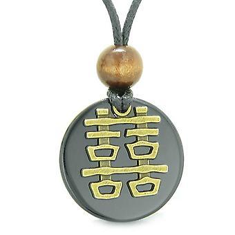 Dubbel lycka Feng Shui amulett Fortune befogenheter Svart agat mynt medaljong hänge halsband