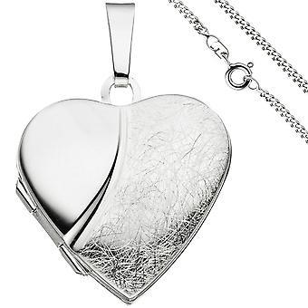 Ciondolo cuore medaglione per aprire per 2 foto 925 collana in argento 50cm