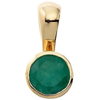 små runda Emerald hänge 333 guld gul guld 1 smaragdgrön