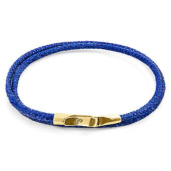 Anchor & Crew Azure Blue Liverpool 9ct Yellow Gold And Stingray Leather Bracelet