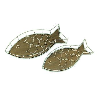 Beachwashed White Metal and Wood Fish Decorative Tray Set of 2