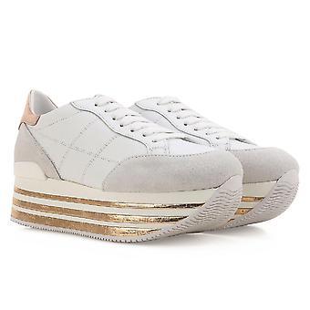 Hogan niedrige Spitze Keile Turnschuhe Schuhe aus weißem Leder