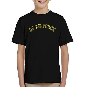 US Airforce Training Yellow Text Distressed Kid's T-Shirt