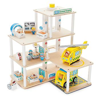 Tidlo Wooden Hospital Play Set Accessories Emergency Vehicles Pretend