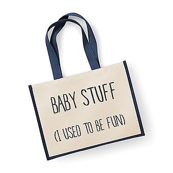 Large Jute Bag Baby Stuff I Used To Be Fun Navy Blue
